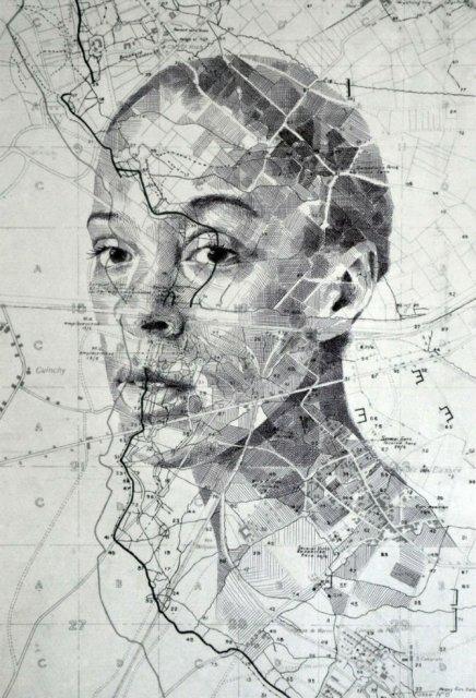 11 Chipuri umane realizate din harti vechi - Poza 11
