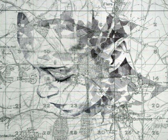 11 Chipuri umane realizate din harti vechi - Poza 5