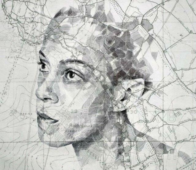 11 Chipuri umane realizate din harti vechi - Poza 9