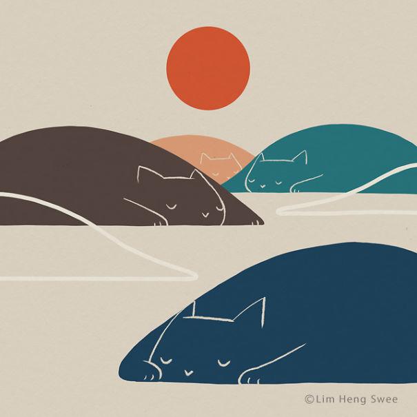 10 Ilustratii minimaliste pentru iubitorii de arta si pisici - Poza 8